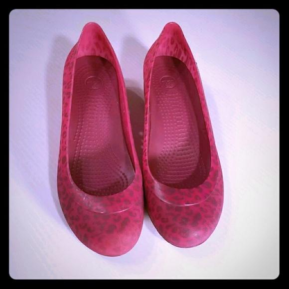 aa27b69a8e1d CROCS Shoes - Crocs Carlisa Mini Wedge Pink Zebra 7M Slip Ons
